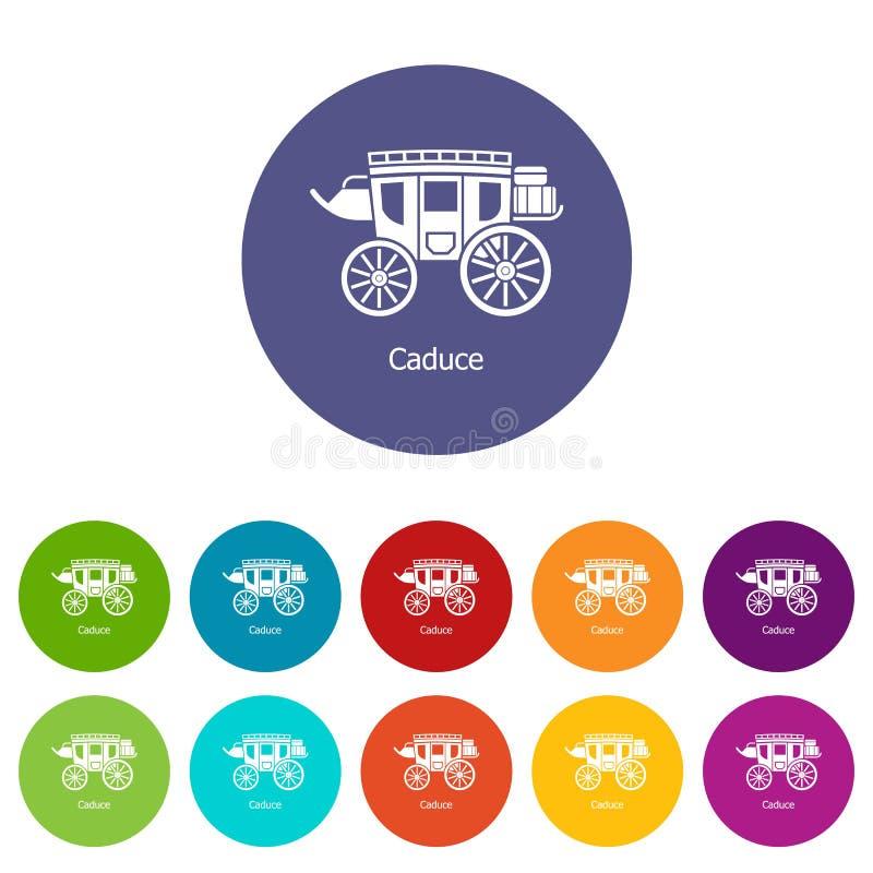 Цвет вектора экипажа установленный значками иллюстрация штока