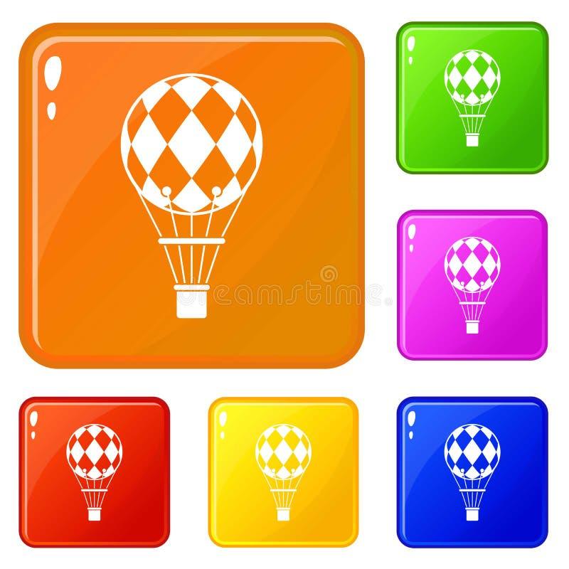 Цвет вектора Checkered значков воздушного шара установленный иллюстрация штока