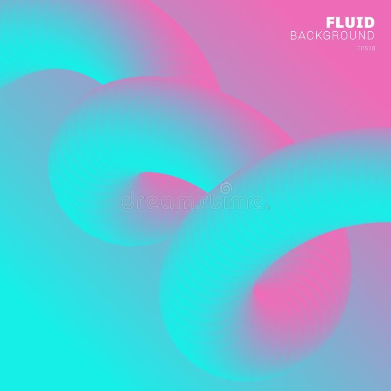 Цвет градиента абстрактной современной предпосылки ультрамодный живой Подача формирует пинк и голубой цвет 3D со спиральной жидко иллюстрация вектора