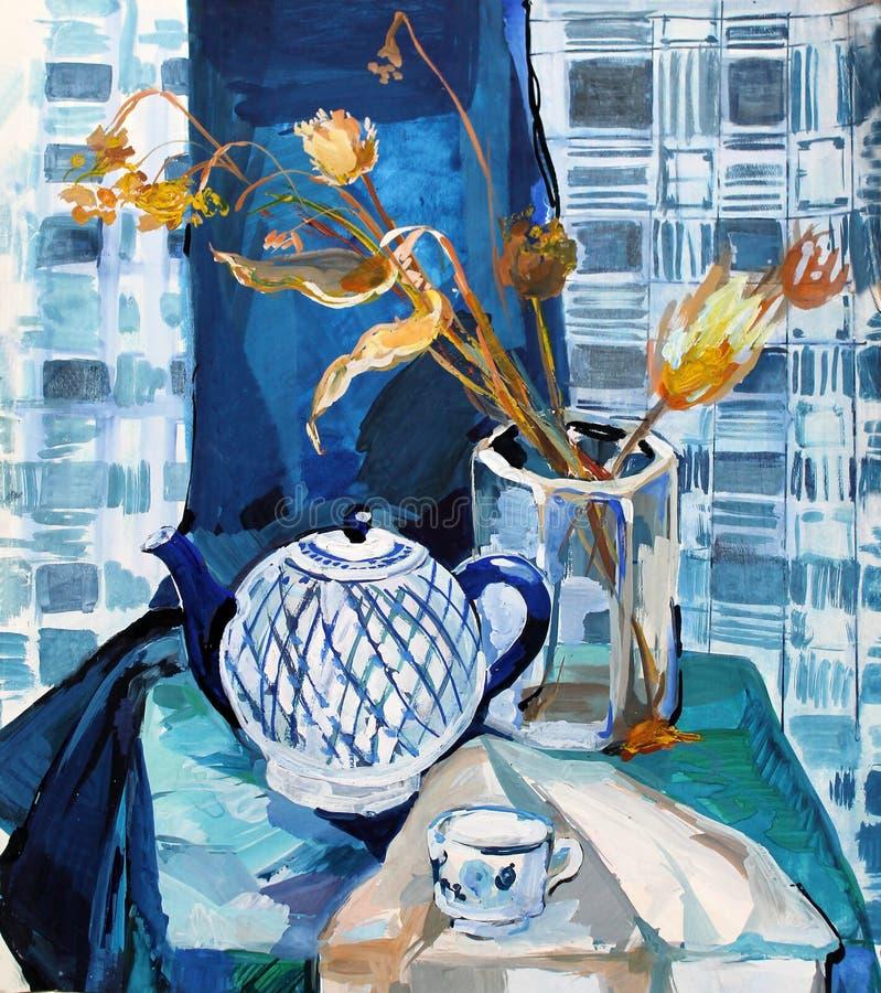 Цвет гуаши натюрморта крася чайник иллюстрация вектора