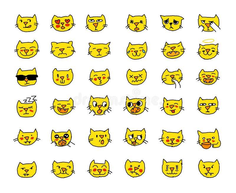 Цвет желтого цвета головы кота стикера Emoji установленный, различные эмоции, намордник Нарисовано вручную иллюстрация вектора