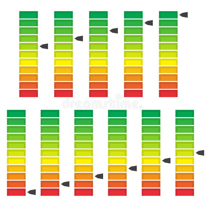 Цвет закодировал прогресс, ровный индикатор с блоками o бесплатная иллюстрация