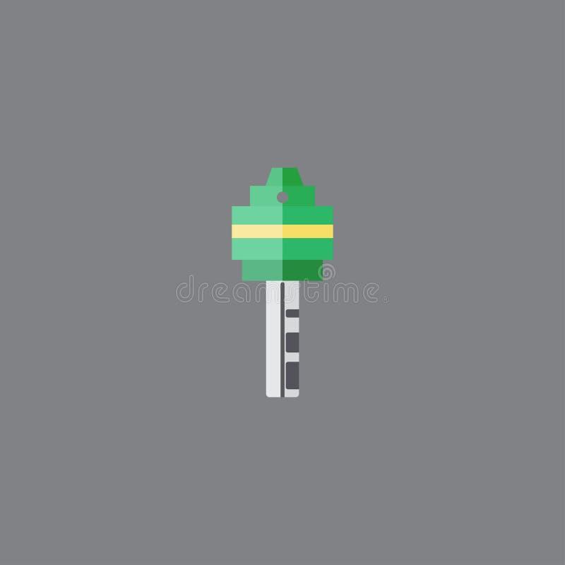 Цвет зеленого цвета стиля значка ключа плоский r r иллюстрация вектора