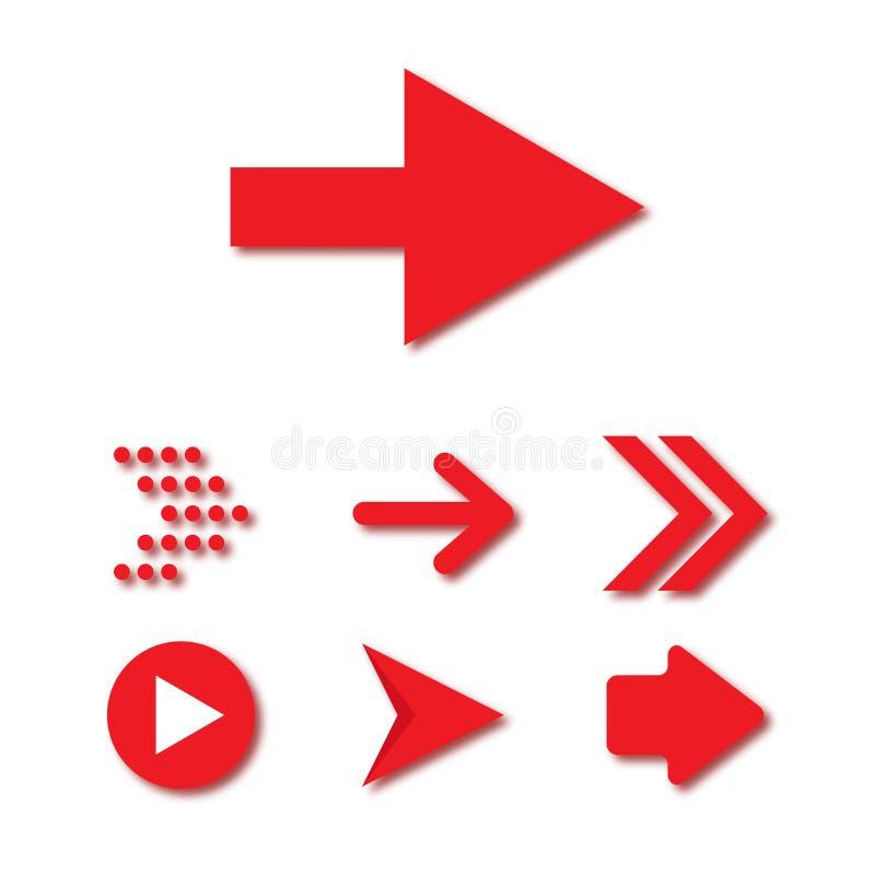 Цвет значка кнопки вектора 3d стрелки установленный красный на белой предпосылке Изолированная линия символ интерфейса для прилож бесплатная иллюстрация