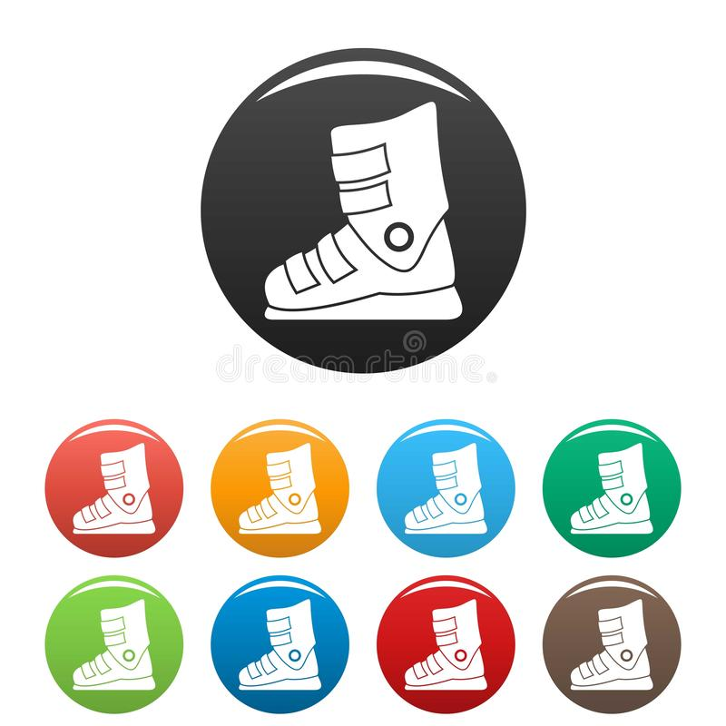 Цвет значков ботинок лыжи установленный иллюстрация вектора