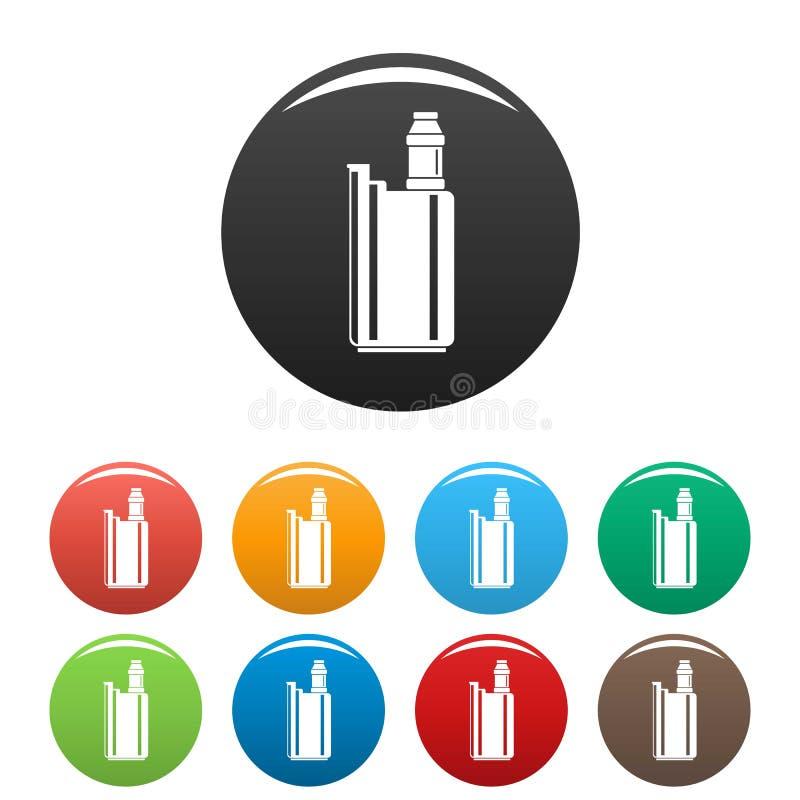 Цвет значков коробки Vape установленный иллюстрация вектора