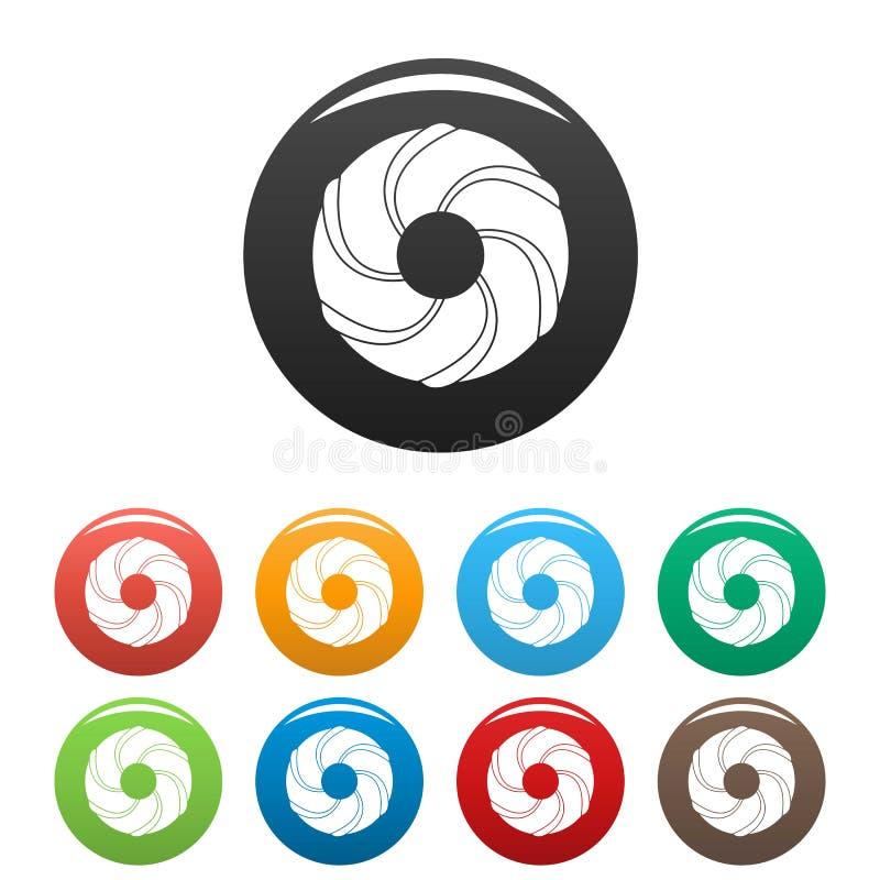 Цвет значков пекарни скручиваемости установленный иллюстрация вектора