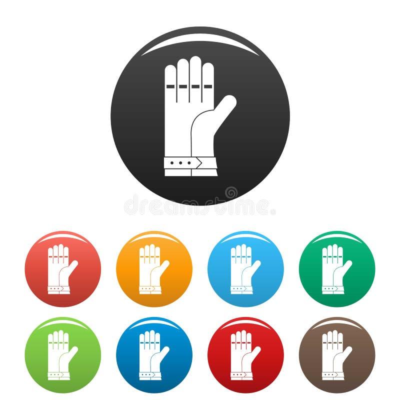 Цвет значков перчатки заварки установленный бесплатная иллюстрация