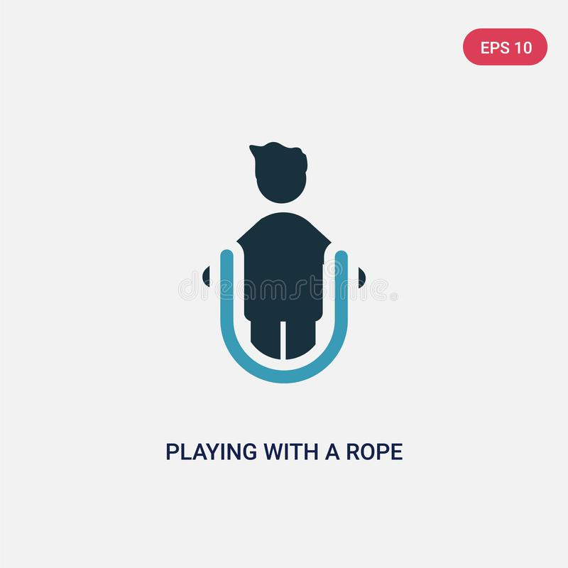Цвет 2 играя со значком вектора веревочки от концепции людей изолированная синь играя с символом знака вектора веревочки может бы иллюстрация штока