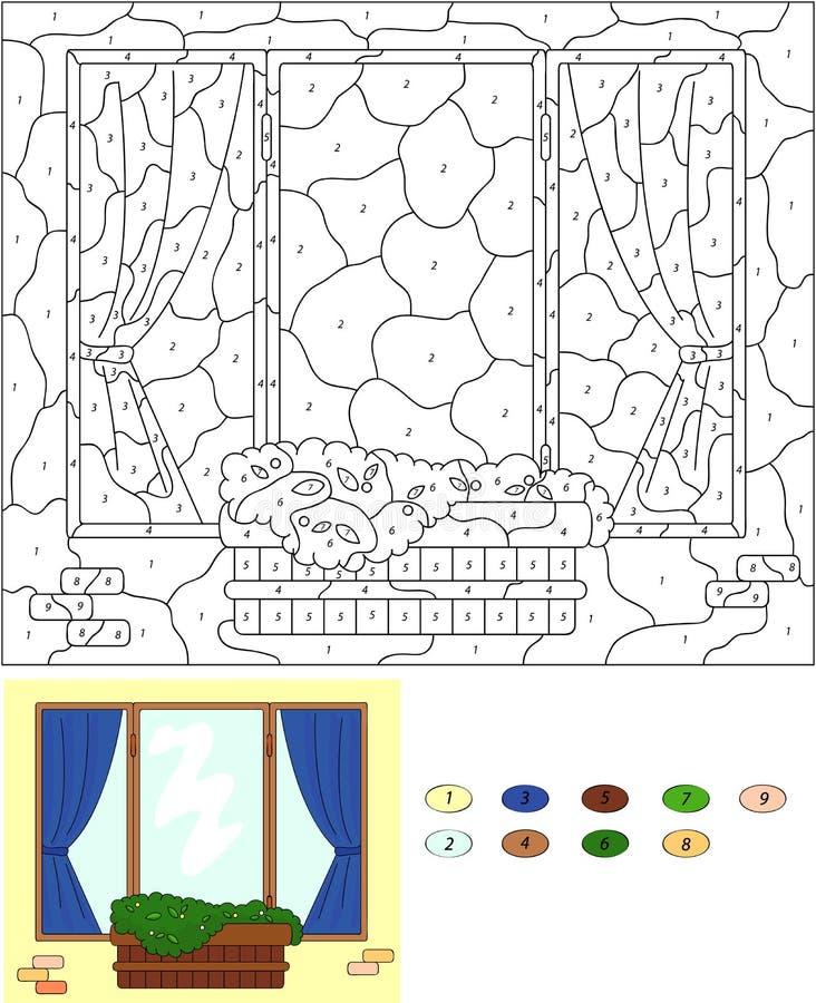 Цвет игрой номера воспитательной для детей Окно с цветком po иллюстрация вектора