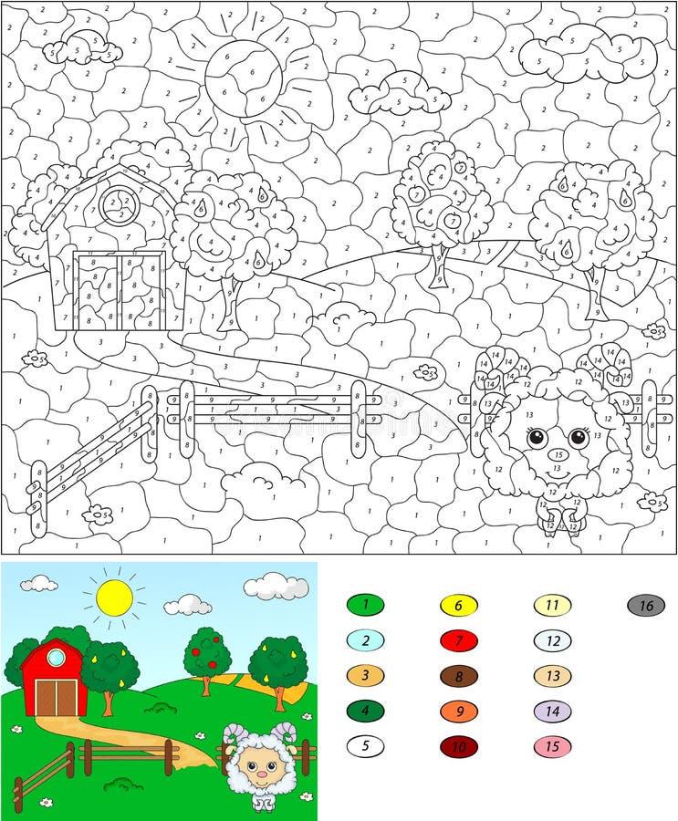 Цвет игрой номера воспитательной для детей Сельский ландшафт с бесплатная иллюстрация