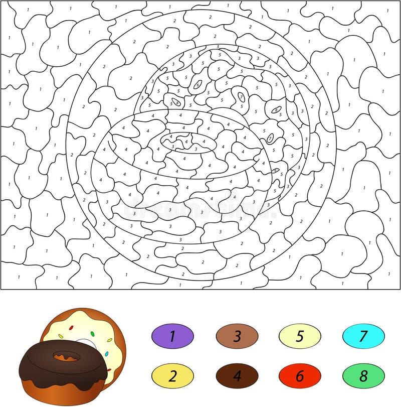 Цвет игрой номера воспитательной для детей Donuts с шоколадом иллюстрация вектора
