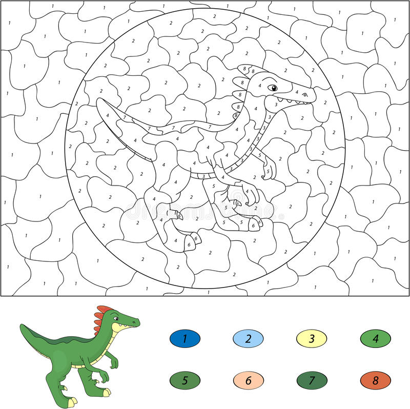 Цвет игрой номера воспитательной для детей Guanlong шаржа Vec иллюстрация штока