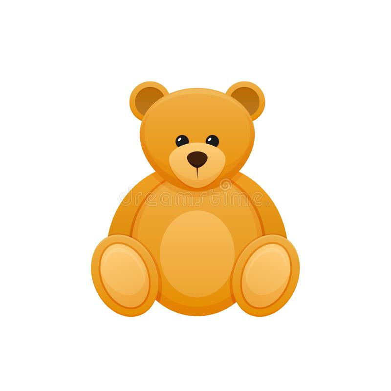 Цвет игрушки детей s, медведь плюша милый Милый, пушистый, смешной медведь иллюстрация вектора