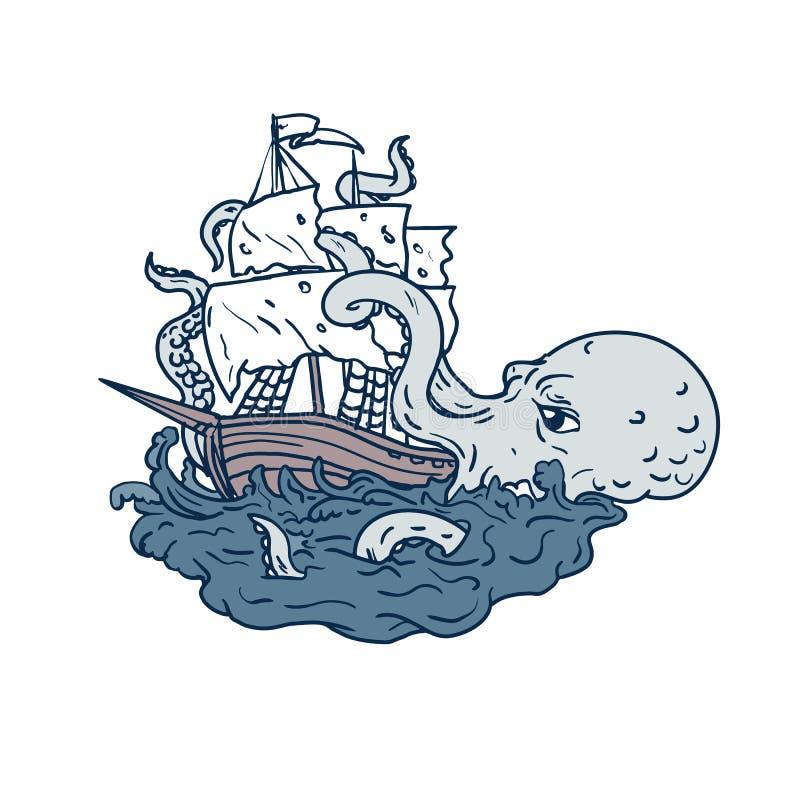 Цвет искусства Doodle Galleon плавания Kraken атакуя иллюстрация штока