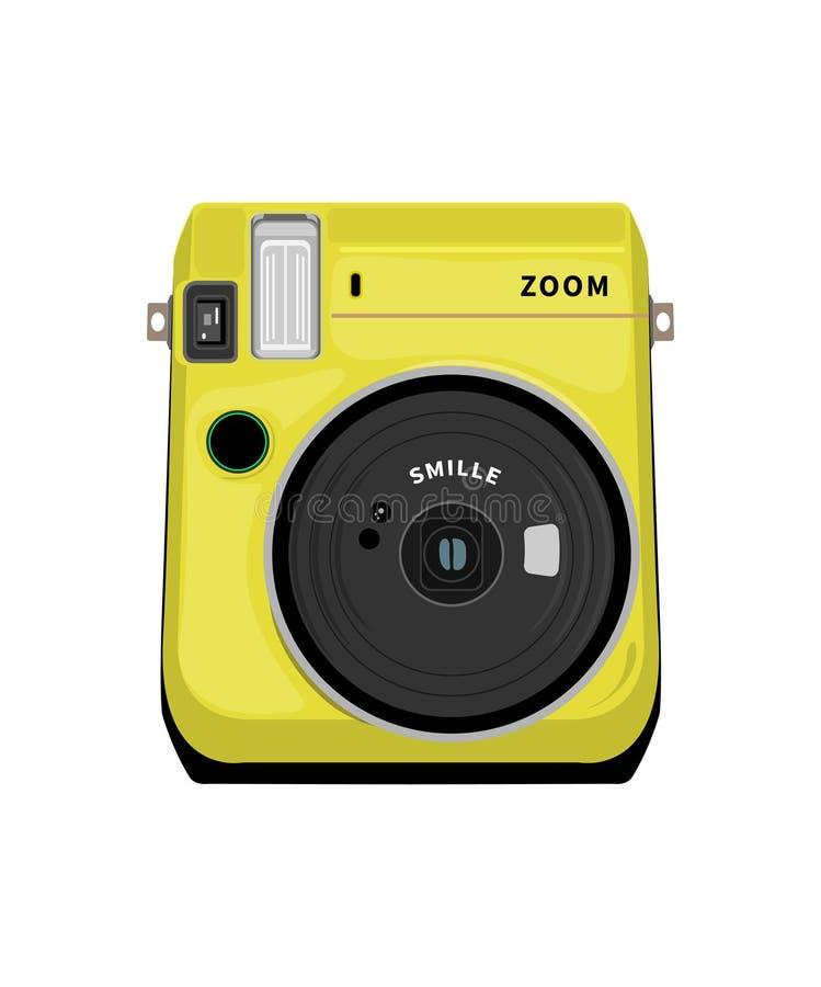 Цвет камеры фото чертежа вектора желтый на белой предпосылке иллюстрация штока