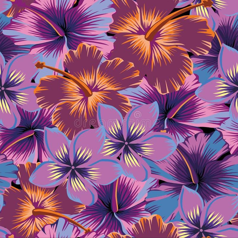 Цвет конспекта гибискуса Plumeria безшовный иллюстрация штока