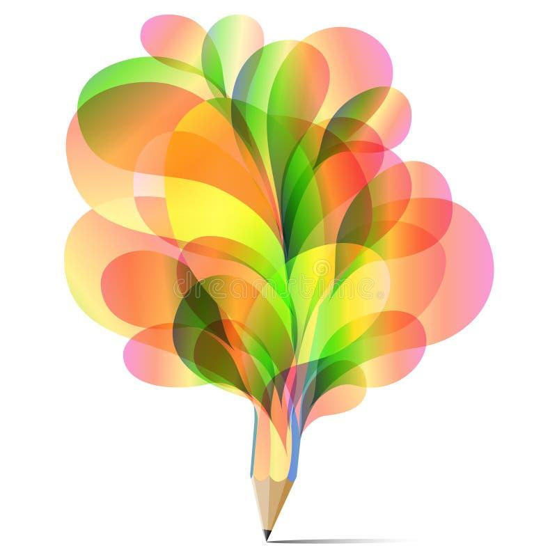 Цвет концепции текстуры карандаша зеленого цвета, апельсина и красного цвета искусства buble установленный иллюстрация штока