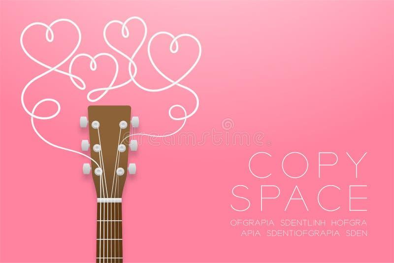 Цвет коричневого цвета акустической гитары и символ сердца сделанный из изолированной идеи концепции иллюстрации строк гитары на  иллюстрация вектора