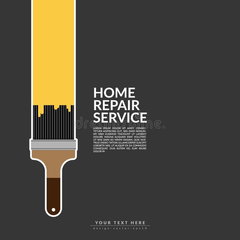 Цвет краски ролика краски желтый над логотипом дома изолированным на черной предпосылке творческие домашние обслуживание и картин бесплатная иллюстрация