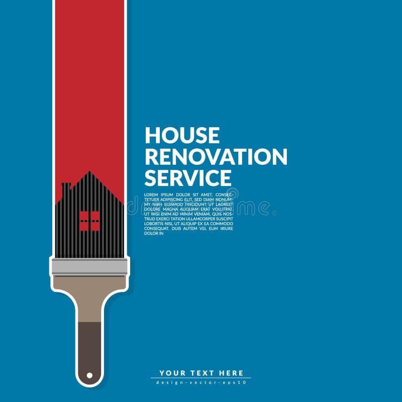 Цвет краски ролика краски красный над логотипом дома изолированным на сини бесплатная иллюстрация