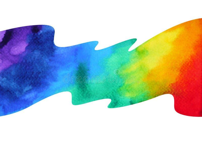 цвет 7 нарисованной руки картины акварели концепции символа chakra иллюстрация штока