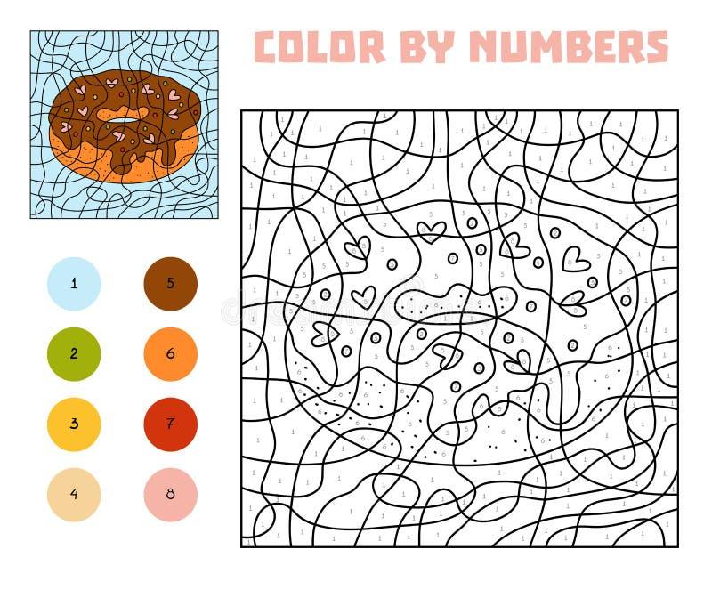 Цвет номером, игрой для детей, донутом иллюстрация штока