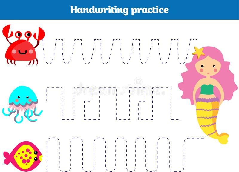 Цвет номером, игрой образования для детей Страница расцветки, дизайн русалки деятельности при детей чертежа Море русалки темы, ок бесплатная иллюстрация
