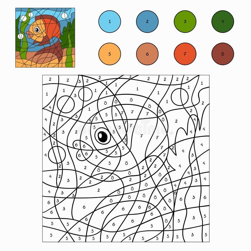 Цвет номером (рыбы) иллюстрация вектора