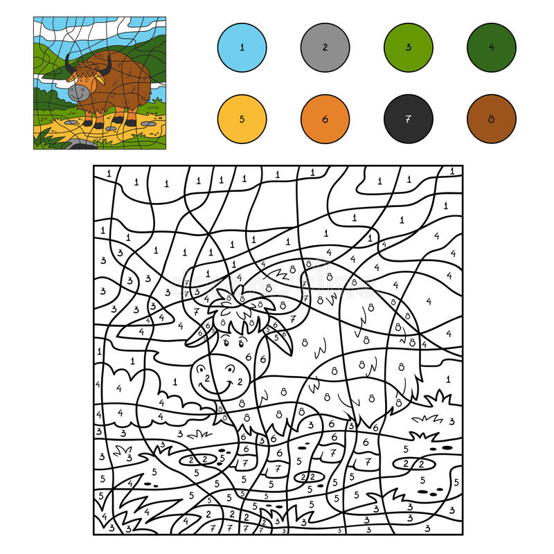 Цвет номером (яки) иллюстрация штока