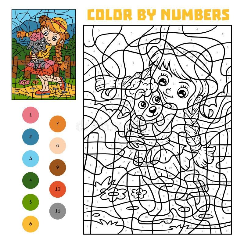 Цвет номером для детей, девушки и овец бесплатная иллюстрация