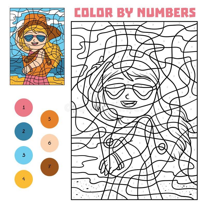 Цвет номером для детей, девушкой в солнечных очках иллюстрация штока