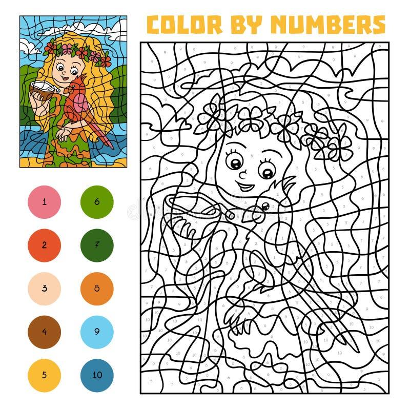 Цвет номером для детей, девушкой с попугаем бесплатная иллюстрация