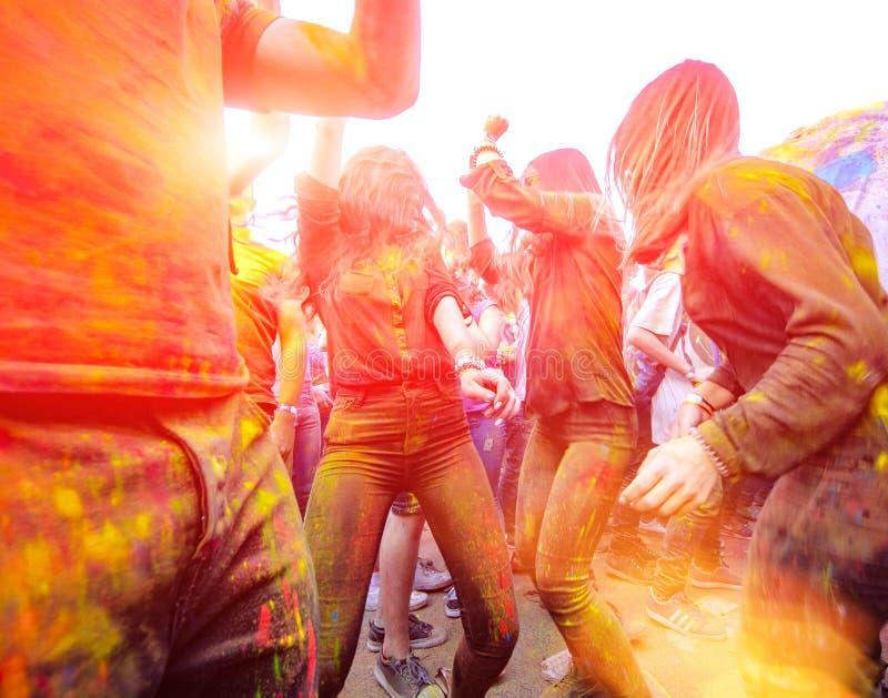 Цвет 9-ое сентября 2017 Молдавии Chisinau Дарвина торжества Holi стоковое изображение rf