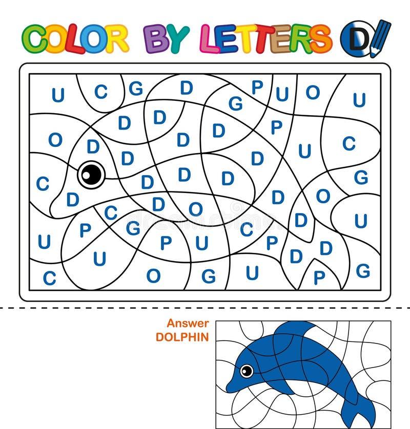 Цвет письмами Учить прописные буквы алфавита Головоломка для детей Письмо d дельфин Дошкольное образование иллюстрация вектора