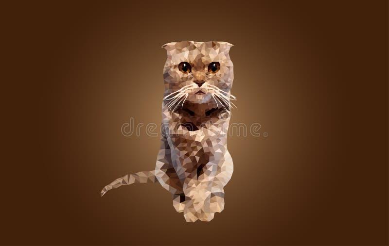 Цвет полигонального кота русый сидит на предпосылке градиента Великобританское триангулирование кота створки бесплатная иллюстрация