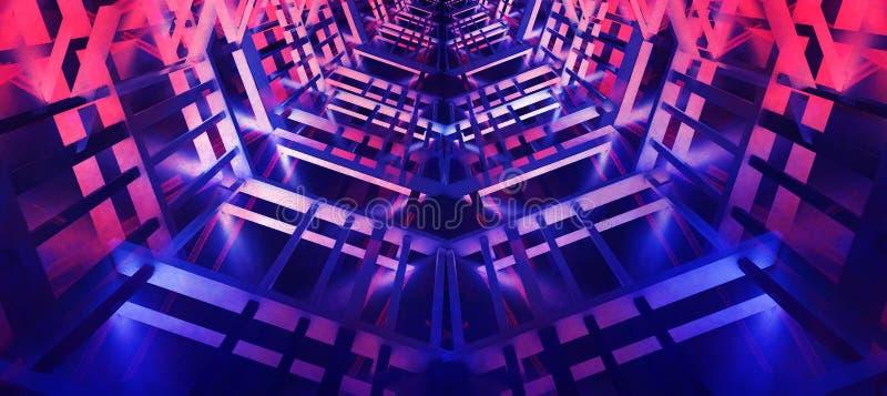 Цвет предпосылки конспекта неоновый панорамный, голубых и розовых, чернота, игра света иллюстрация вектора