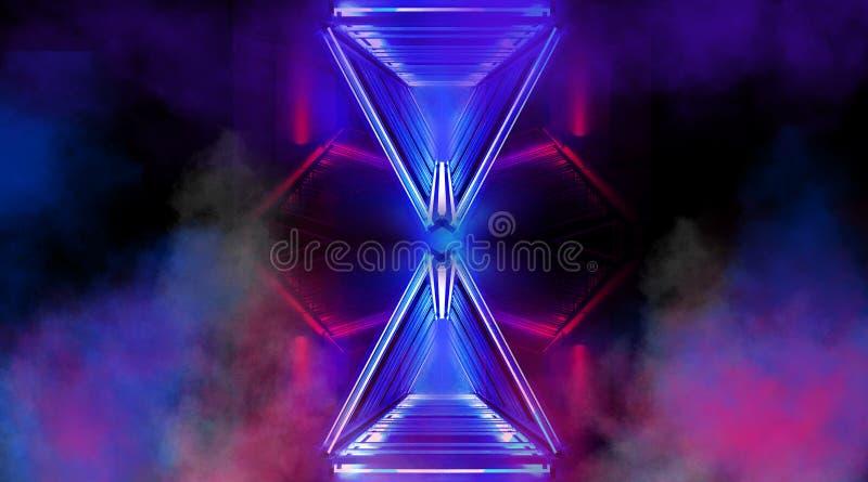Цвет предпосылки конспекта неоновый панорамный, голубых и розовых, чернота, игра света бесплатная иллюстрация