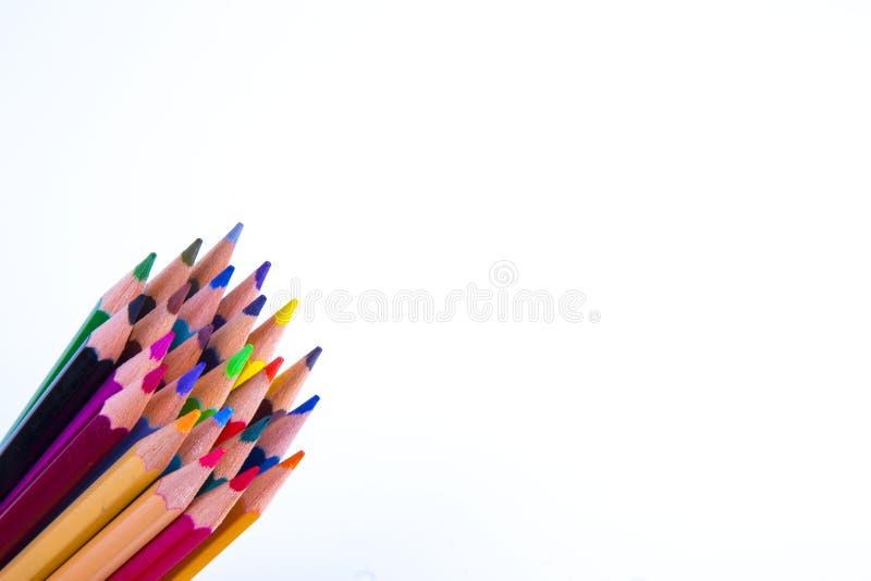 цвет предпосылки покрасил изолированные карандаши карандаша белым стоковое изображение rf