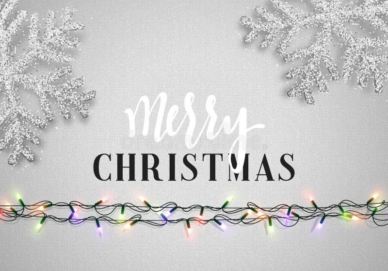 Цвет предпосылки рождества серый с реалистическими гирляндами и красивыми снежинками иллюстрация вектора