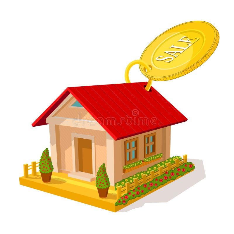 Цвет равновеликого изображения частного дома с круглой продажей бирки на белизне иллюстрация штока