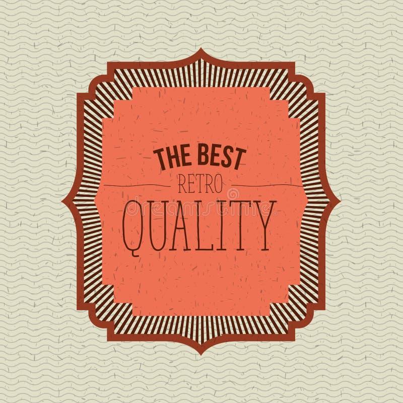 Цвет развевает линии предпосылка с оранжевой орнаментальной рамкой самый лучший ретро качественный текст иллюстрация вектора