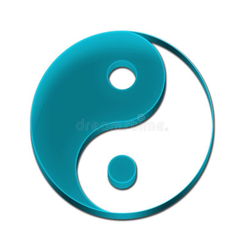 Цвет символа 3D Yin Yang небесно-голубой иллюстрация штока