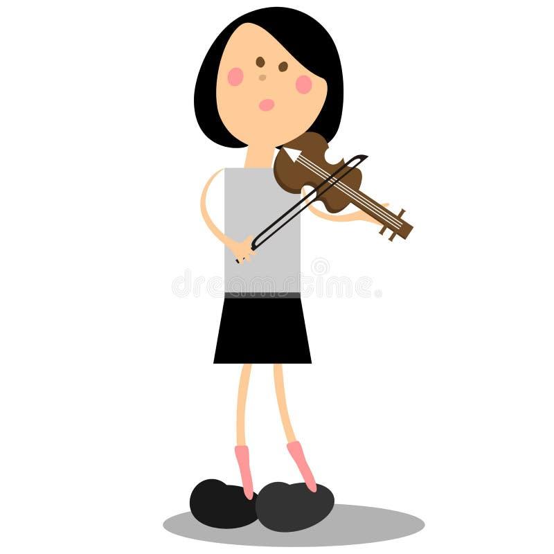 Цвет 16 скрипки девушки musicant иллюстрация штока