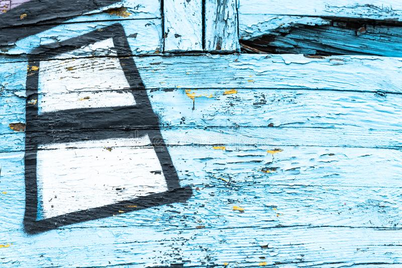 Цвет старой краски голубой и желтый на грязной деревянной поверхности стоковые изображения