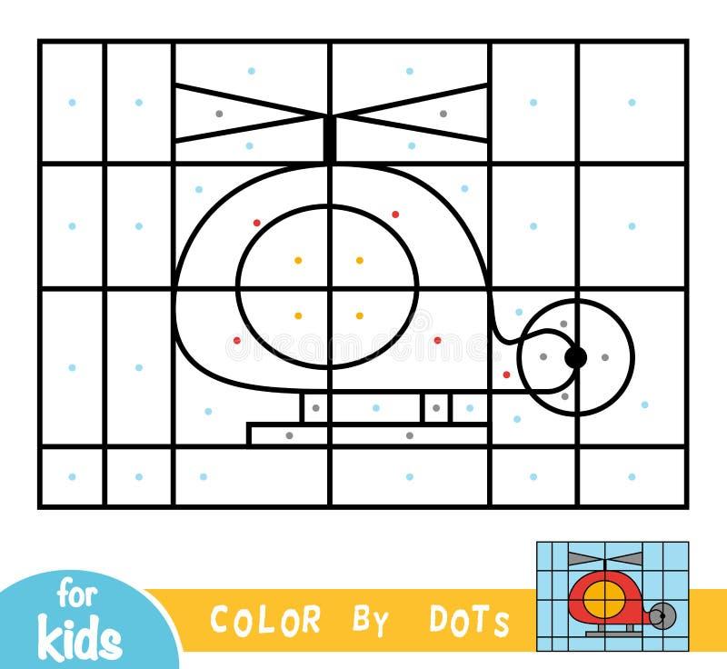 Цвет точками, игра для детей, вертолет иллюстрация штока