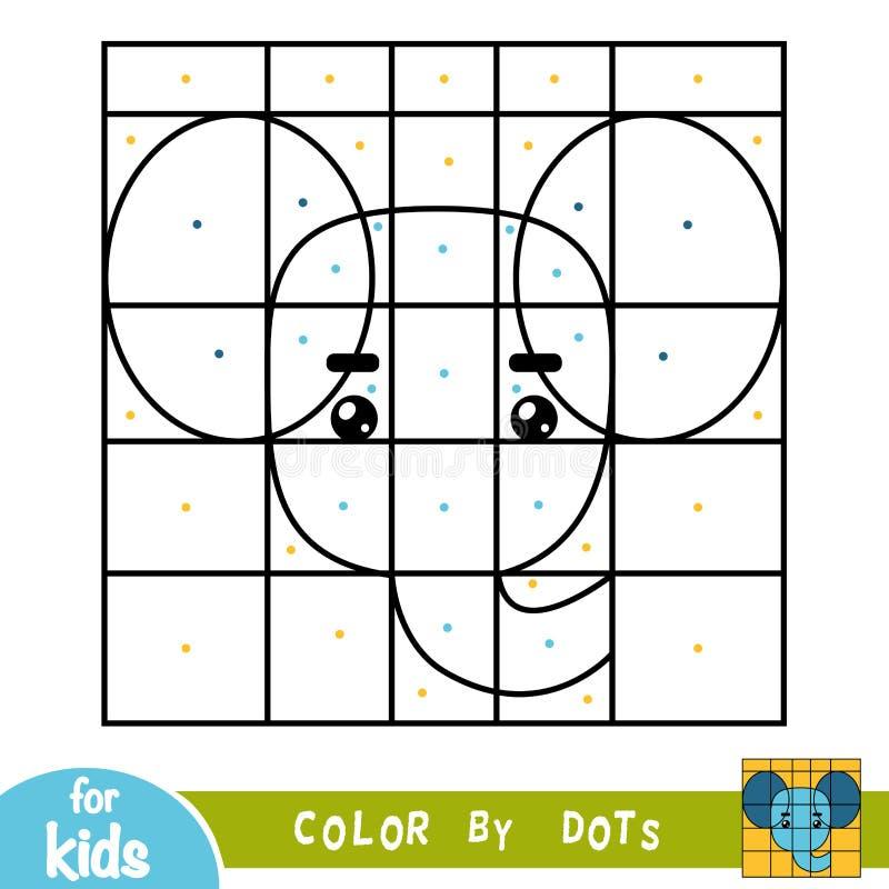 Цвет точками, игра для детей, слон бесплатная иллюстрация
