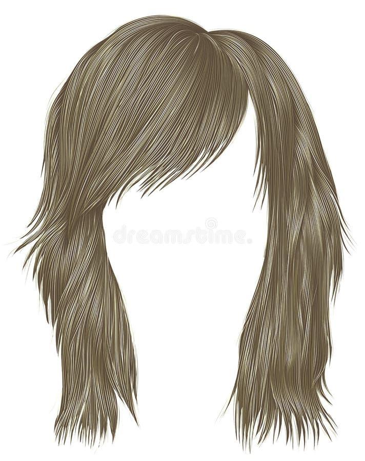 Цвет ультрамодных волос женщины белокурый средств длина Тип красотки иллюстрация вектора