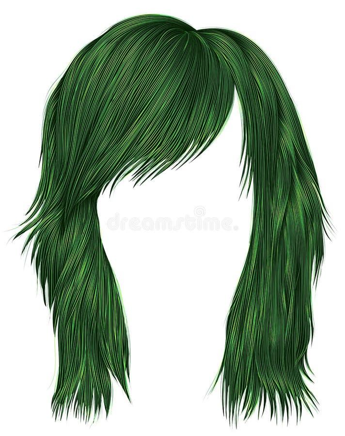 Цвет ультрамодных волос женщины зеленый средств длина хлев красоты бесплатная иллюстрация
