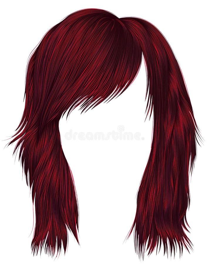 Цвет ультрамодных волос женщины красный средств длина Тип красотки бесплатная иллюстрация